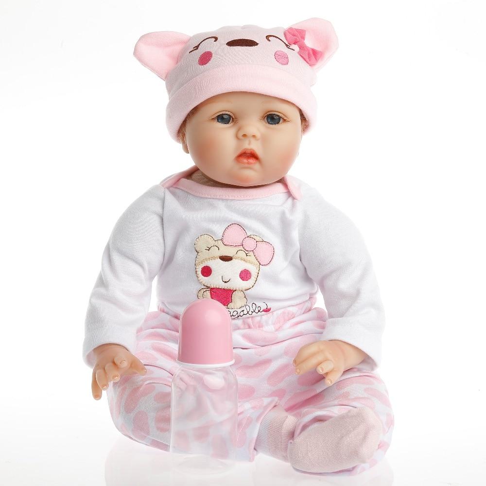 SanyDoll Hot New Reborn Silicone Baby Doll bébé enfants de jouets Aimant Sucette 22 pouce 55 cm Belle rose bébé ours poupée