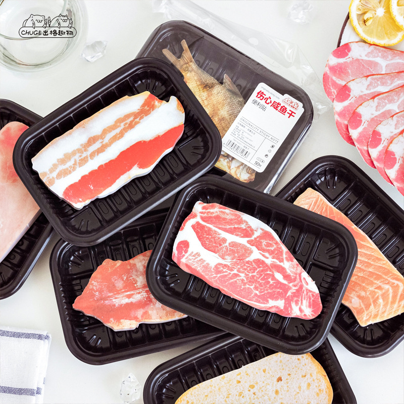 Funny Meat Food N Times Memo Pad Sticky Notes Cute Fish Post Bookmark Stationery Label Stickers School Supplies Notepad Escolar