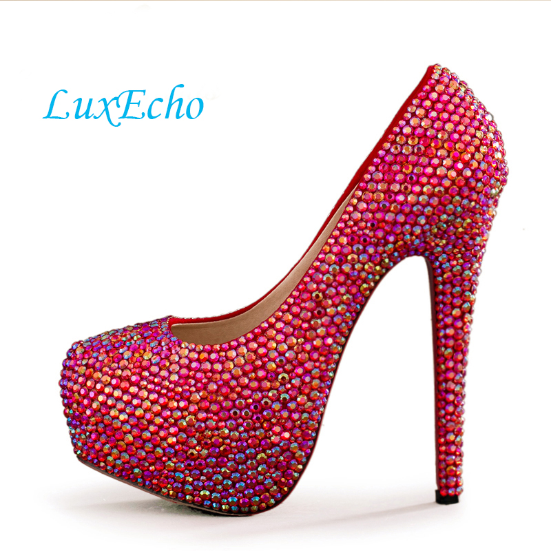 New arrival red rhinestone wedding shoes womens high heels Platform shoes round toe bridal shoes woman plus size Pumps