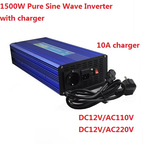 цена на UPS 1500W MAX 3000W DC24V to AC110V Pure sine wave inverter with 10A battery charger