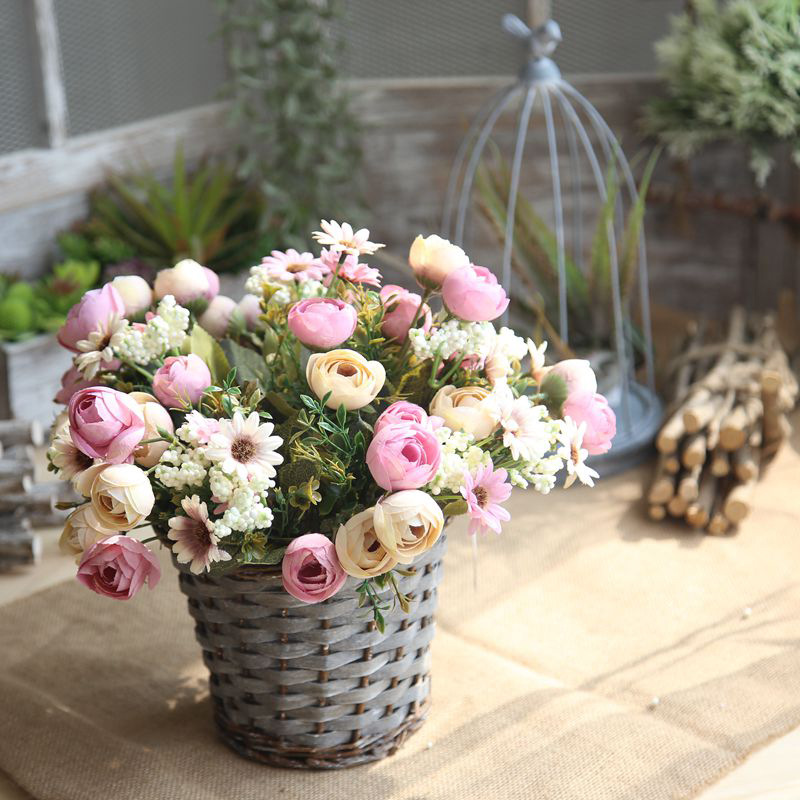 5 pic Artificial Flowers DIY Wedding Decorations 9 pcs/lot Real Touch Rose Flowers Brida ...