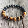 New Design jewlery 10MM Tiger Eye And Matte Black Onyx Men's Beaded Bracelet High Grade Male Wristband Fashion Handmade Jewelry