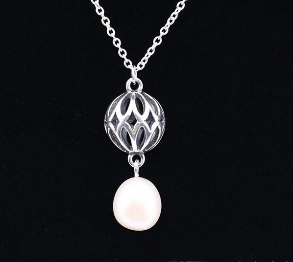 Pandora necklace pearl pendant online shop 925 sterling silver dangle drop pearl pendant necklace openwork flower heart necklace compatible with pandora mozeypictures Image collections