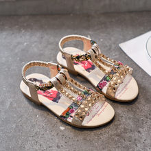 Girl's Fashion Rhinestone Sandals Baby Kids Fashion Roman Shoes Children Girls Summer Casual Sandals Elastic Band Shoes(China)