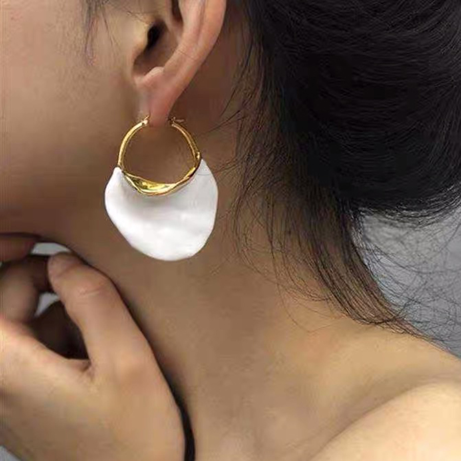 Fashion Big Dangle Earrings White Enamel Gold 585 Huge Statement Tassel Earring Luxury Brand Jewelry For Women Party Wedding