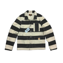 CIDI 20oz Canvas Prison Moto Jacket Bob Dong Striped Biker Jackets For Men Motorcycle