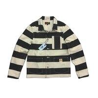 20 унц. холст тюрьмы байкерская куртка Боб Дон полосатый байкерские куртки для Для мужчин мотоцикл