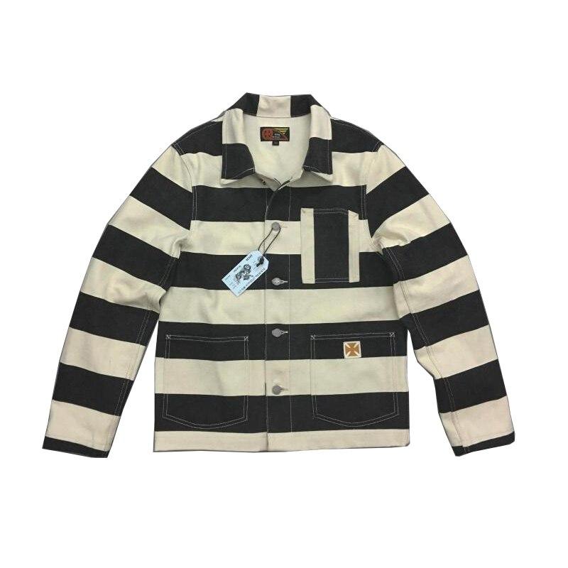 20oz Canvas Prison Moto Jacket Bob Dong Striped Biker Jackets For Men Motorcycle