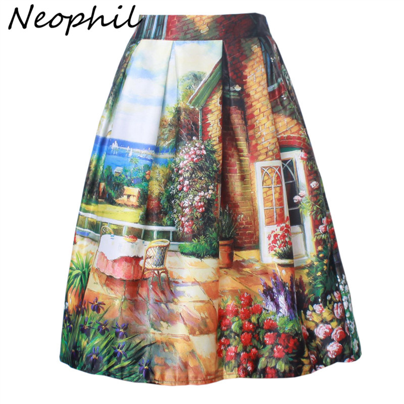 Neophil 2020 Summer Women Garden Floral Painting Printed Ball Gown Pleated High Waist Flare Swing Skirts Female Faldas S07049