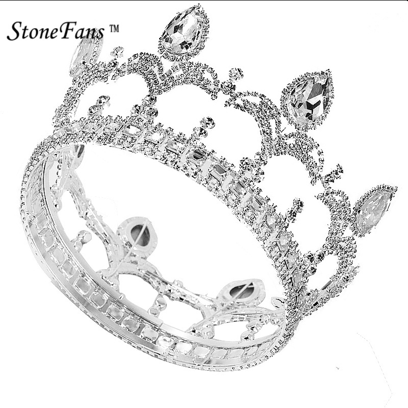 StoneFans Vintage Trendy Queen King Bridal Tiara Crown Women Headdress Prom Wedding Tiaras And Crowns Hair Jewelry Accessories free shipping star products feather accessories bridal headdress korean bridal hair accessories wedding tiara vintage singer