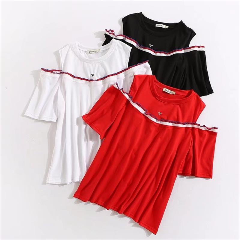 Plus size cotton black & red & white summer women T-shirts 2018 new love Embroidered tshirt off shoulder ladies top female 4XL