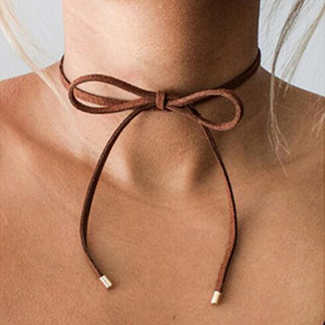 Fashion Black Terciopelo Leather Bow Choker DIY Rope Necklace Gift For  Women Girls Accessories False Choker Jewelry e8a17351bc26