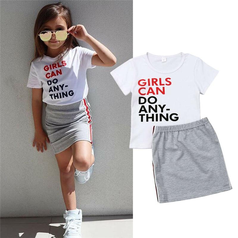 Топы с короткими рукавами и буквенным принтом для маленьких девочек, мини юбки, повседневный комплект летней одежды, одежда для маленьких девочек, 2019|Комплекты одежды| | АлиЭкспресс