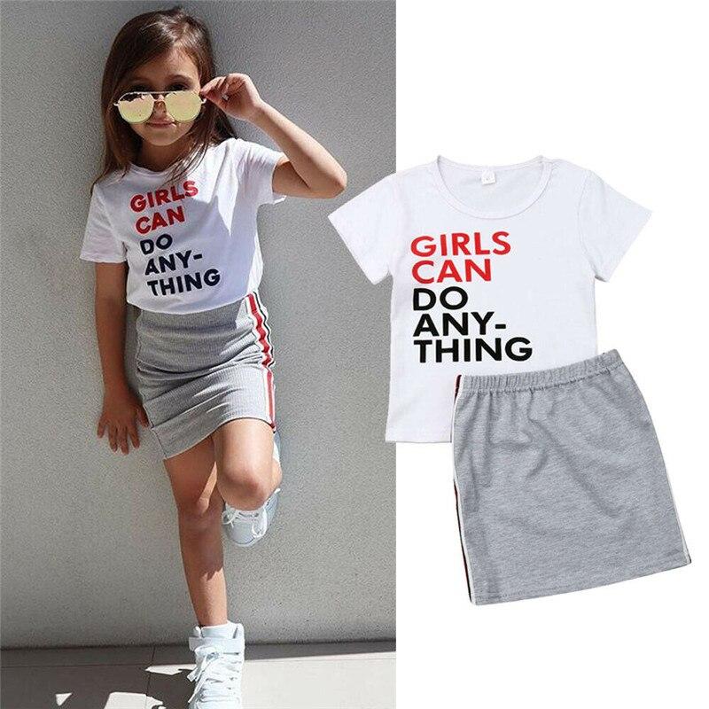 Kleinkind Baby Kinder Mädchen Kurzarm Brief Drucken Tops Mini Röcke Casual Sommer Outfit Set Baby Mädchen Kleidung 2019