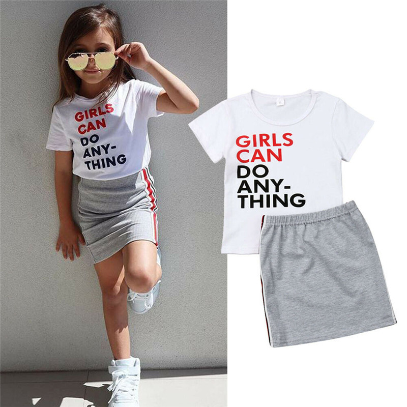 Toddler Baby Kids Girls Short Sleeve Letter Print Tops Mini Skirts Casual Summer Outfit Set Baby Girl Clothes 2019