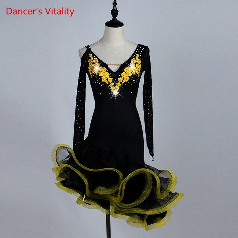 Robe de danse latine sur mesure pour femmes robe de danse latine pour femmes robes de danse latine robe de Tango jupe haut Samba