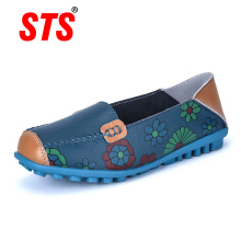 STS BRAND New Spring Women Genuine Leather Ballet Flats Casual Shoes Women Round Toe Slip On Flats Female Loafers Ballerina Shoe недорого