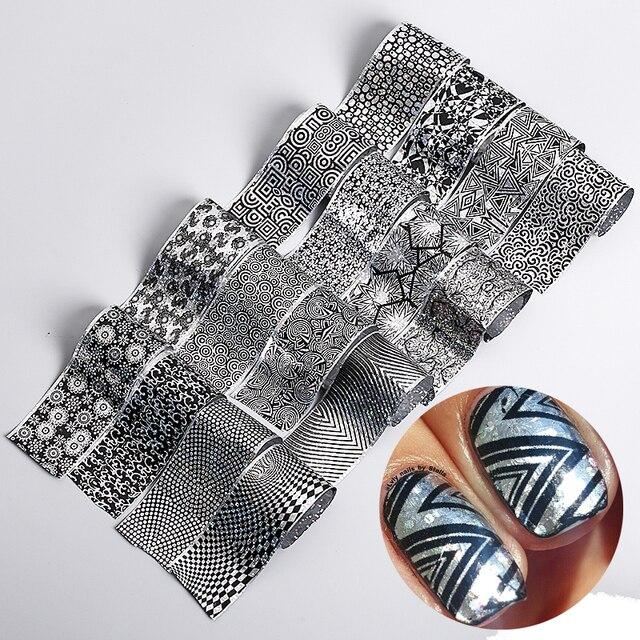 16 designsset mehrfarbigen farbverlauf marmor muster marke neue transfer nagel folie aufkleber aufkleber fr - Muster Fur Nagel