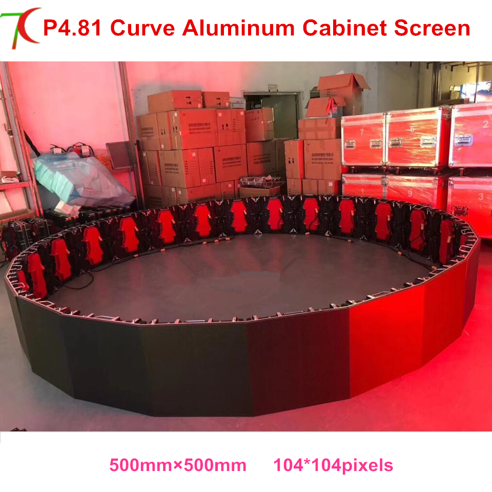 China Factory Sales Curve Led Screen P4.81 Indoor 500*500mm Die-casting Aluminum Rental Cabinet Led Display