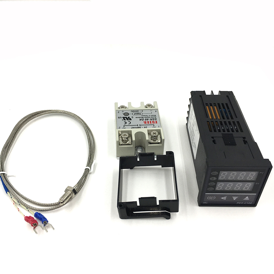 REX-C100 Digital PID Temperature Controller Thermostat SSR output + Max.40A SSR Relay + K Thermocouple Probe High Quality RKC 1kits digital adjustable pid temperature controller panel thermostat pc410 rex c100 max 40a ssr relay k thermocouple probe