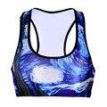 Women  Wire Free Bra Hot  Sale Blue Star Print TopTanks Push Up Brassiere Women's Underwear Seamless  Wide Back Bra Undies