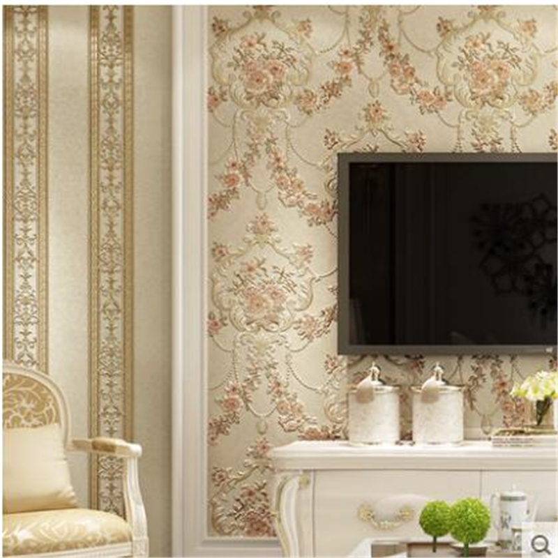 beibehang Stereo Europea-style garden flowers vertical stripes AB version of papel de parede wallpaper living room background beibehang european simplified ab version with three wallpaper deer leather embossed environmental wallpaper papel de parede