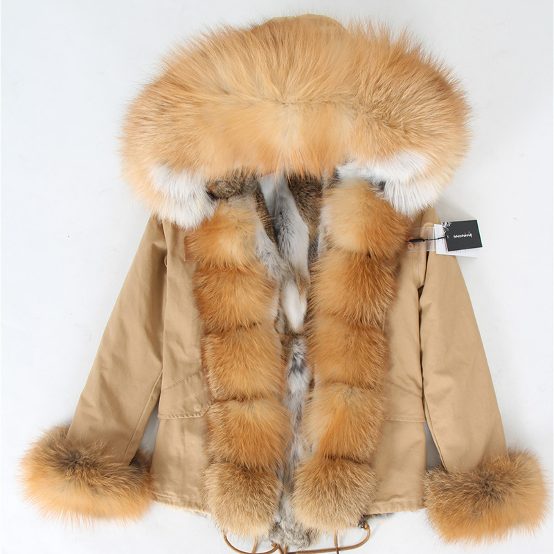 Image 2 - Natural rabbit fur lined with cotton fur coat winter female warm parkReal Fur   -