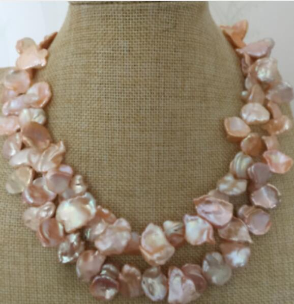 Double brins 13-14mm baroque rose collier de perles 18 -19Double brins 13-14mm baroque rose collier de perles 18 -19