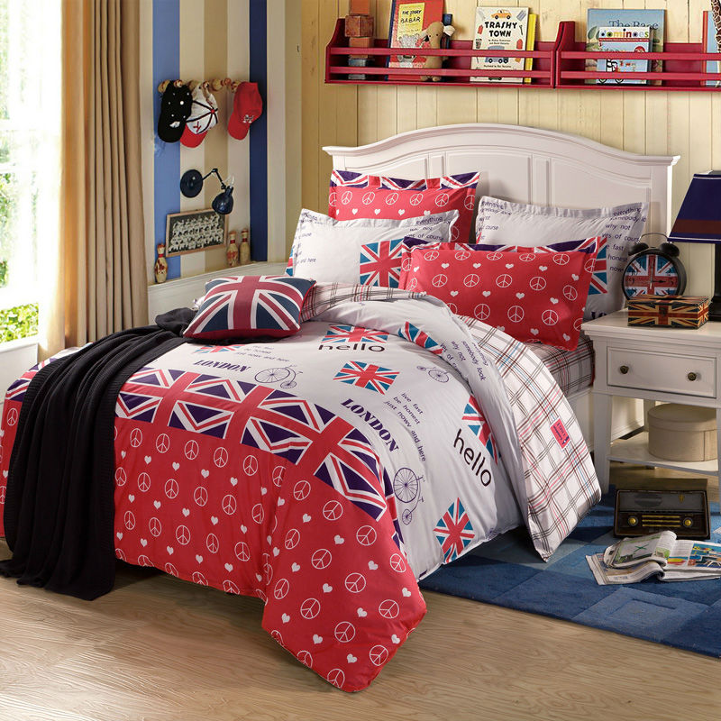 100% Combing Cotton Linens England Style Bedding Sets UK Flags White Red  Sheets Sets Coverlet