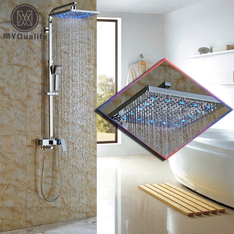 Modern 12 LED Light Rainfall Shower Head Bathroom Shower Faucet Set Single Handle Swivel Tub Spout Bathtub Shower Mixer Taps