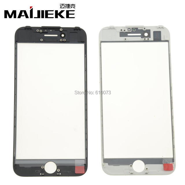 MAIJIEKE 50PCS AAA For iPhone 8 7 6s 6 plus 5 5c 5s cold Press 3 in 1 Outer Glass Lens with Frame&OCA Front glass Replacement