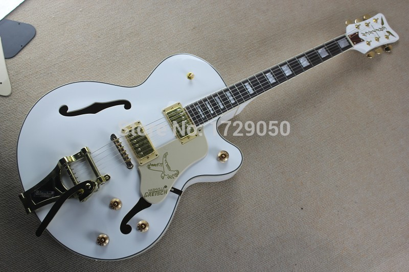 Factory Custom White Gretsch Falcon 6120 Semi Hollow Body Jazz Electric Guitar With Bigsby Tremolo 2017 1 2017 1 free shipping gretsch 6120 hollow body orange stain electric guitar in stock