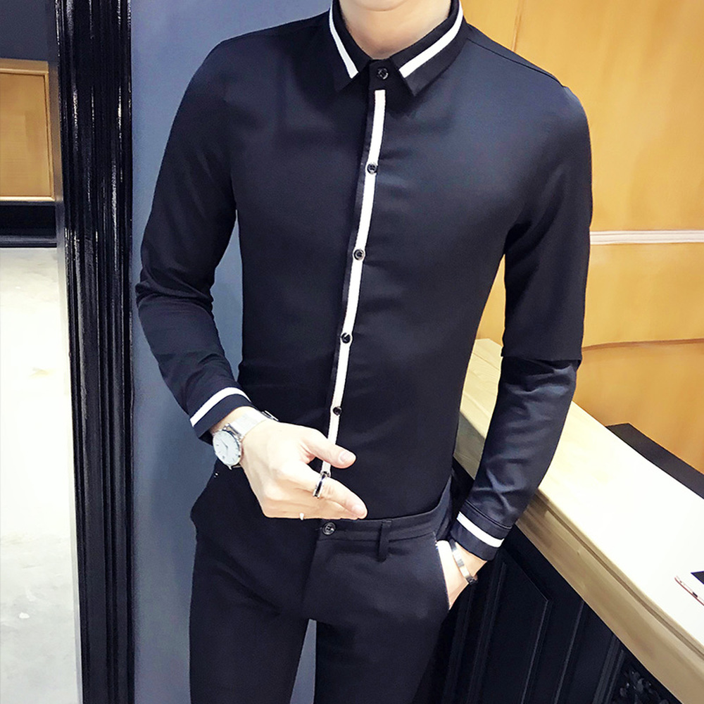 2018 High Quality Mens Casual Shirt Black White Contrast Color Tops