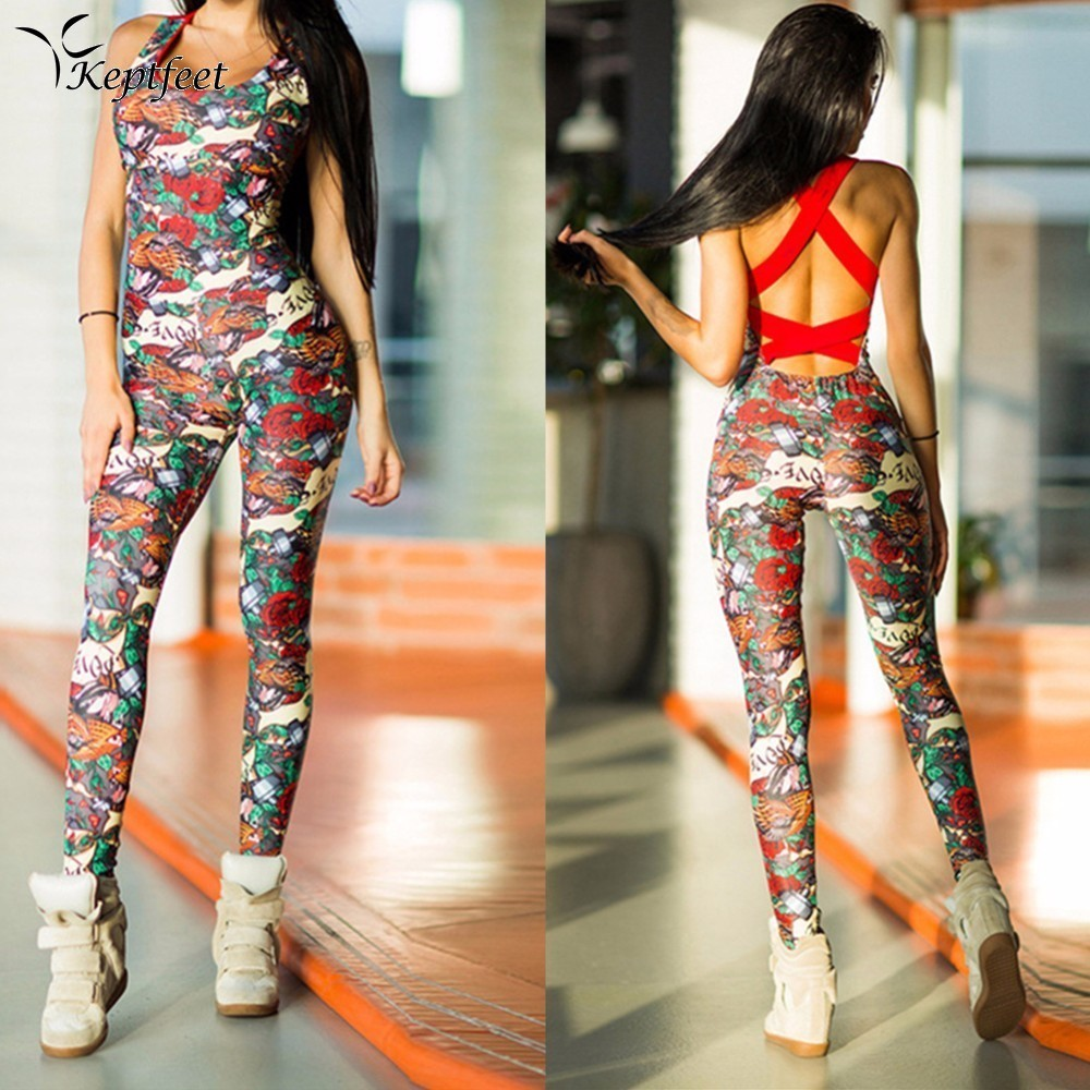New Print Patchwork Fitness Jumpsuit Women Cross Strap Back Sleeveless Backless Yoga Sets Skinny Slim Rompers Catsuit