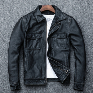 Image 3 - Free shipping.Brand classic men cowskin Jackets,mens genuine Leather jacket.casual business coat,plus size vintage clothing