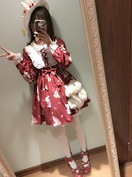 2017 new Spring White/Red Women Vintage lolita Young Girl Musical Instrument Rabbit Lace Ribbon Bow Bunny Print One-piece dress