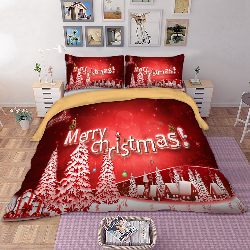 Twin Christmas Bedding Sets.Us 22 83 44 Off Christmas Bedding Set Twin Full Queen King Au Single Uk Double Size Xmas Duvet Cover Pillow Cases Snow Tree Bed Linen Set 3pcs In