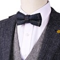 Handmade Checked Navy Blue Khak Beige Camel Mens Pre-tied Tuxedo Bow Tie Wool Adjustable Trendy Wholesale Free Shipping