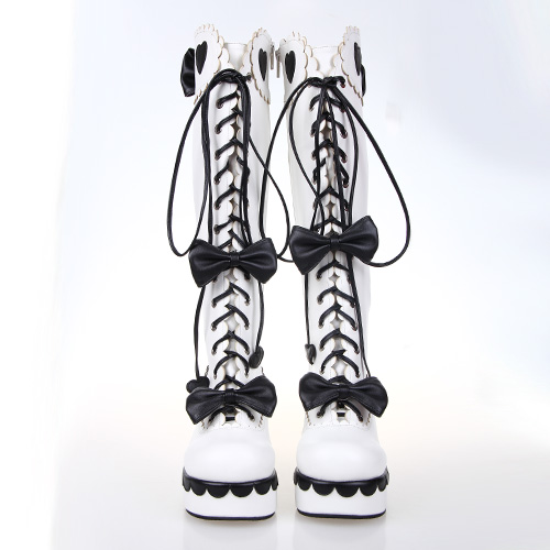 US $83.61 10% OFF|Alice in Wonderland Series Black and White Gothic Queen High Heel Platform Lolita Cosplay High Boots in Knee High Boots from Shoes