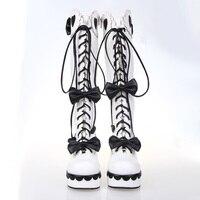 Женские ботинки в стиле «лолита» в стиле стимпанк на танкетке и каблуке в русском стиле, женская обувь, зимние белые кожаные ботинки на шнур