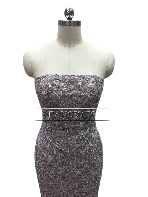 Elegant Stroppeløs Blonder Cocktail Kjoler med Lang Frakk Spesial - Spesielle anledninger kjoler - Bilde 4