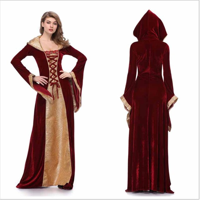 Halloween Costume Wicca Witch Medieval Dress Women Adult Plus Size Scary  Cosplay Gothic New Wizard Halloween Costumes for Women 8513638834fc