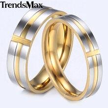 Trendsmax Mode Paare Ringe Schwarz Blau Gold Ton Kreuz Edelstahl Engagement Ring Für Frauen UNS Größe 6-12 KKRM35
