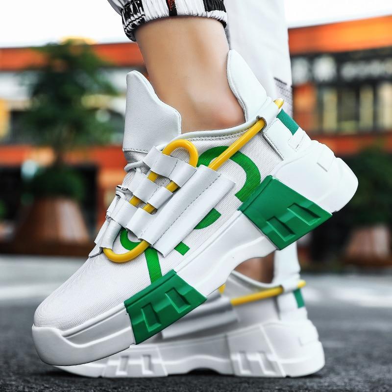 YRRFUOT moda grube dno mężczyźni trampki Trend odkryty mężczyźni buty lekkie oddychające gorąca sprzedaż obuwie popularne buty rekreacyjne 1