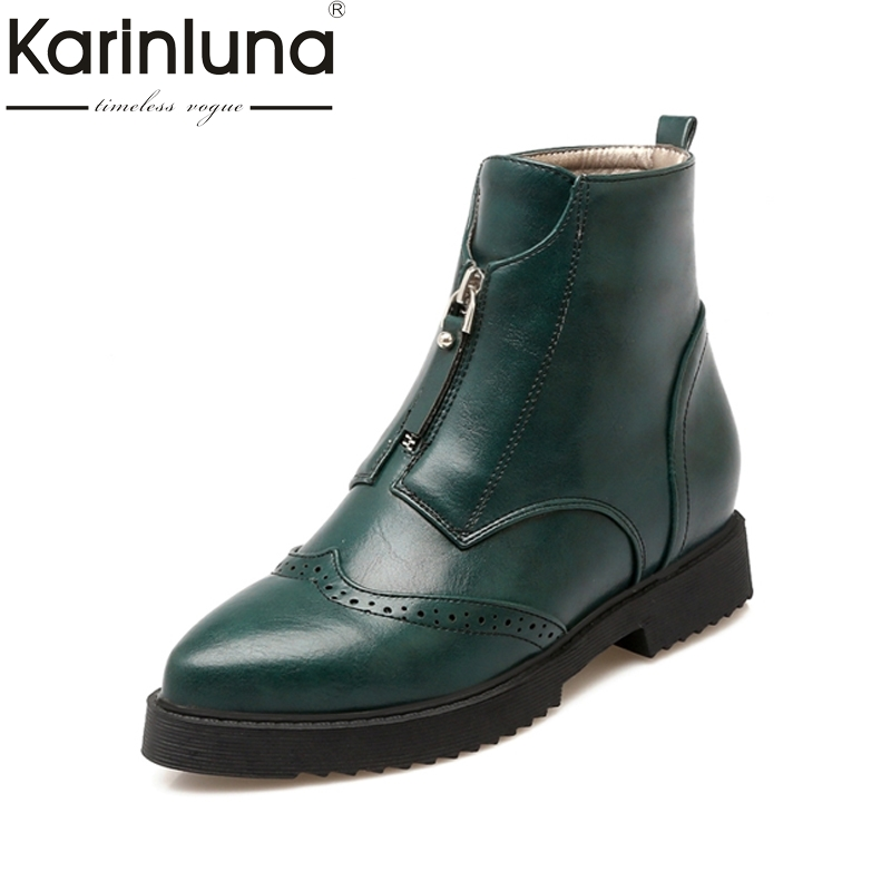 KarinLuna 2017 Brogue Top Quality Pointed Toe Ankle Boots Women Square Low Heels Woman Shoes British Style Martin Boots brogue boots two tone