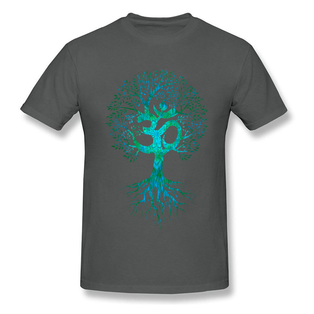 Mens Tshirts Om Tree Of Life Europe Tops & Tees Cotton Fabric O-Neck Short Sleeve Slim Fit Tops Shirt Labor Day Om Tree Of Life carbon