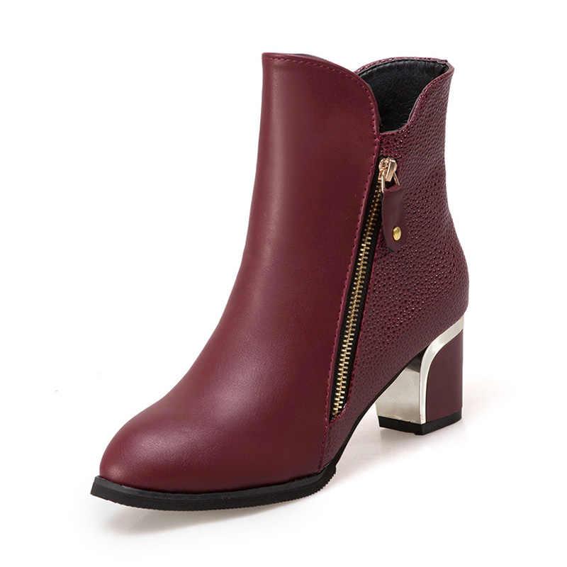 Plus Größe Winter Frau Stiefel Gold Mit Hohen Absätzen Stiefeletten High Heels Booties Frauen Schuhe Schwarz Zip Boot Damen Schuhe Botas mujer 6741