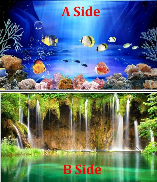 40 50cmH PVC Double Sided Aquarium Fish Tank Poster Background Decoration Ocean Decorative Wall