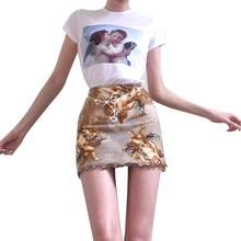 Women's Printed Hip Skirt Fashion Hot Skirt Falda de mujer con bolso estampado Gonna calda di moda#YL-25