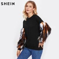 SHEIN Contrast Faux Fur Sleeve Sweatshirt Black Long Sleeve Round Neck Autumn Casual Pullovers Womens Sweatshirt